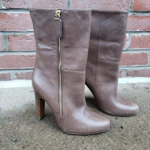 Coach Mid Calf Leather Heel Boots